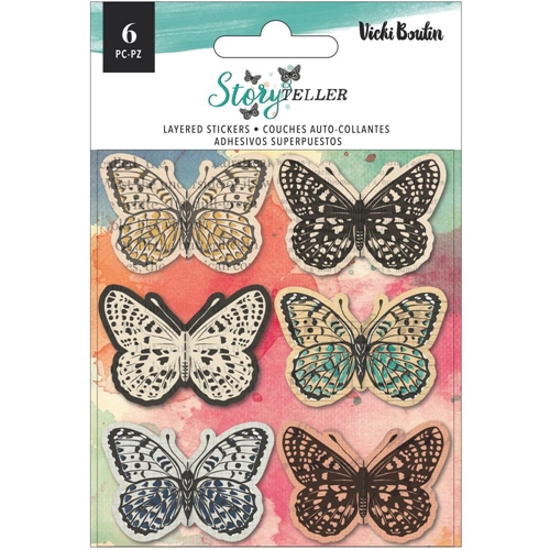 American Crafts Vicki Boutin STORYTELLER Layered Butterfly Stickers 34001349 Preview Image