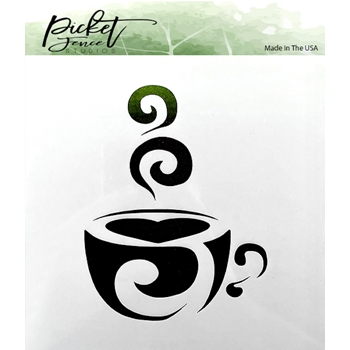Picket Fence Studios COFFEE CUP 6x6 Stencil sc169