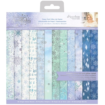 Crafter's Companion GLITTERING SNOWFLAKES 12 x 12 Paper Pad sgspad12