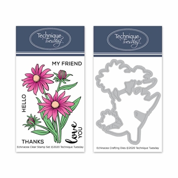 Technique Tuesday ECHINACEA FLOWERS Clear Stamps and Dies 8636