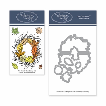 Technique Tuesday FALL WREATH Clear Stamps and Dies 8674*