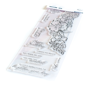 PinkFresh Studio FLORAL NOTES Clear Stamp Set pfcs3220