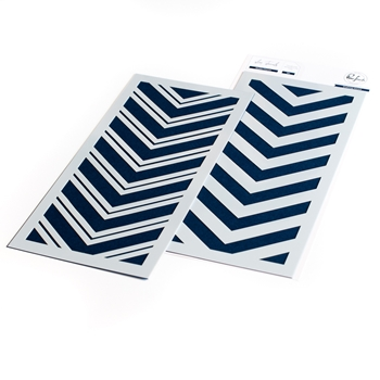 PinkFresh Studio DOUBLE CHEVRON Layering Stencil Set pfst08