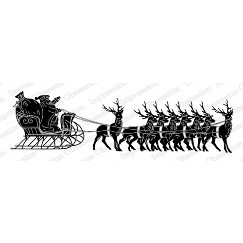 Impression Obsession Cling Stamp SANTA WITH SLEIGH 3236 LG Preview Image