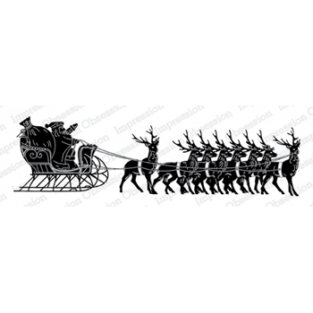 Impression Obsession Cling Stamp SANTA WITH SLEIGH 3236 LG