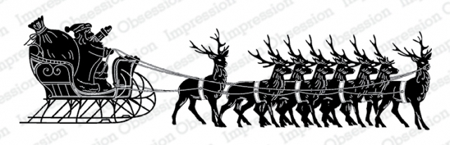 Impression Obsession Cling Stamp SANTA WITH SLEIGH 3236 LG zoom image