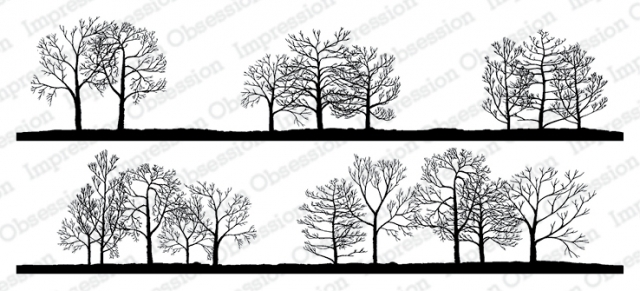 Impression Obsession Cling Stamps BARE TREE LINE DUO 3231 LG zoom image
