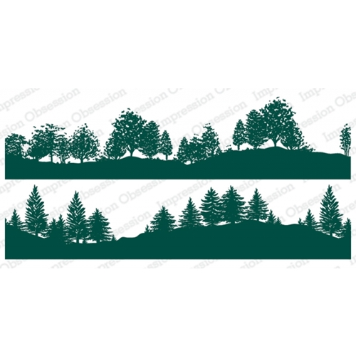 Impression Obsession Cling Stamps TREE LINED HILLSIDE DUO 3229 LG Preview Image