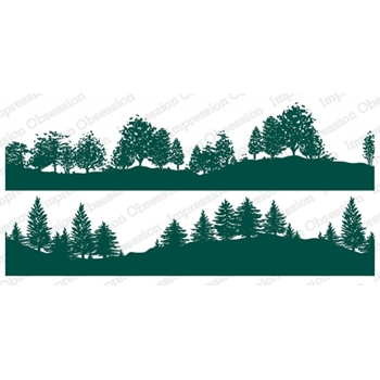 Impression Obsession Cling Stamps TREE LINED HILLSIDE DUO 3229 LG