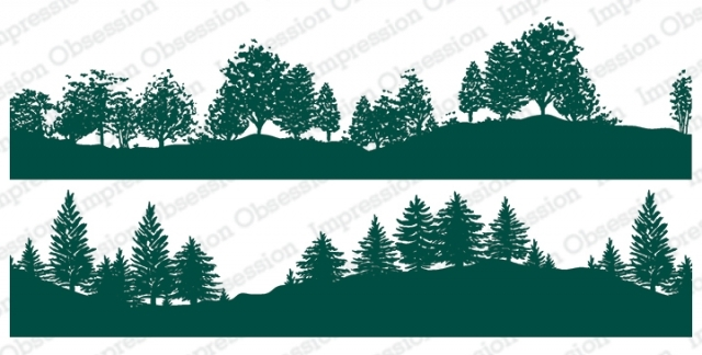 Impression Obsession Cling Stamps TREE LINED HILLSIDE DUO 3229 LG zoom image