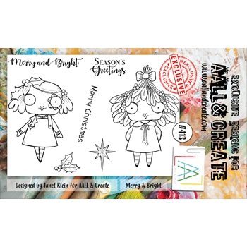 AALL & Create MERRY AND BRIGHT A6 Clear Stamp Set aal00413