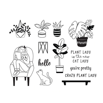 Fun Stampers Journey PLANT LADY Clear Stamps SS 0690