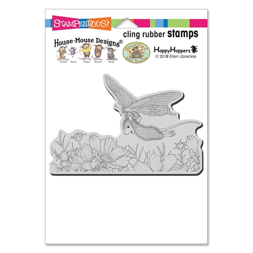 House Mouse Butterfly Soaring Cling Stamp