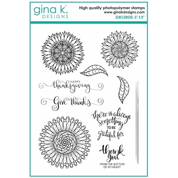 RESERVE Gina K Designs ZENFLOWERS Clear Stamps 7016