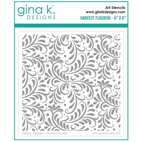 Gina K Designs HARVEST FLOURISH Stencil 7030 Preview Image