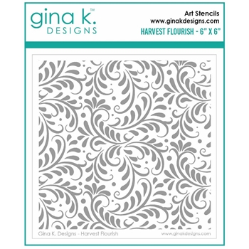 Gina K Designs HARVEST FLOURISH Stencil 7030
