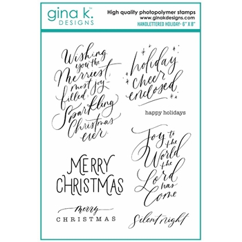 Gina K Designs HANDLETTERED HOLIDAY Clear Stamps 7085