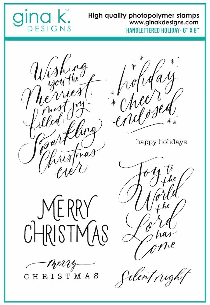 Gina K Designs HANDLETTERED HOLIDAY Clear Stamps 7085 zoom image