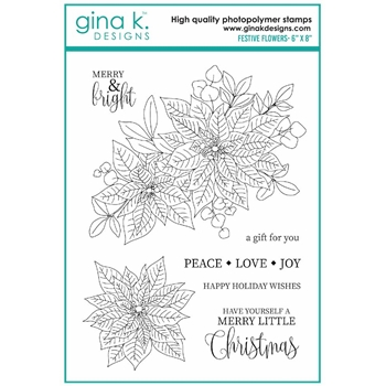 RESERVE Gina K Designs FESTIVE FLOWERS Clear Stamps 7078