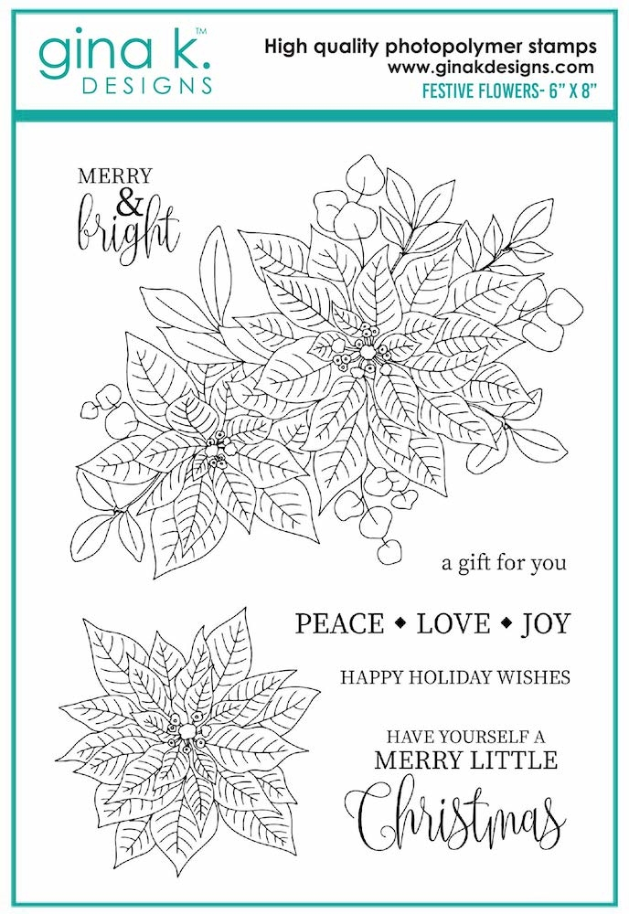 Gina K Designs FESTIVE FLOWERS Clear Stamps 7078 zoom image