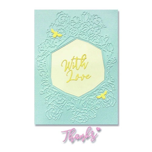 Sizzix FRAME FLORAL HEXAGON Impresslits Cut and Emboss Folder 664245 Preview Image