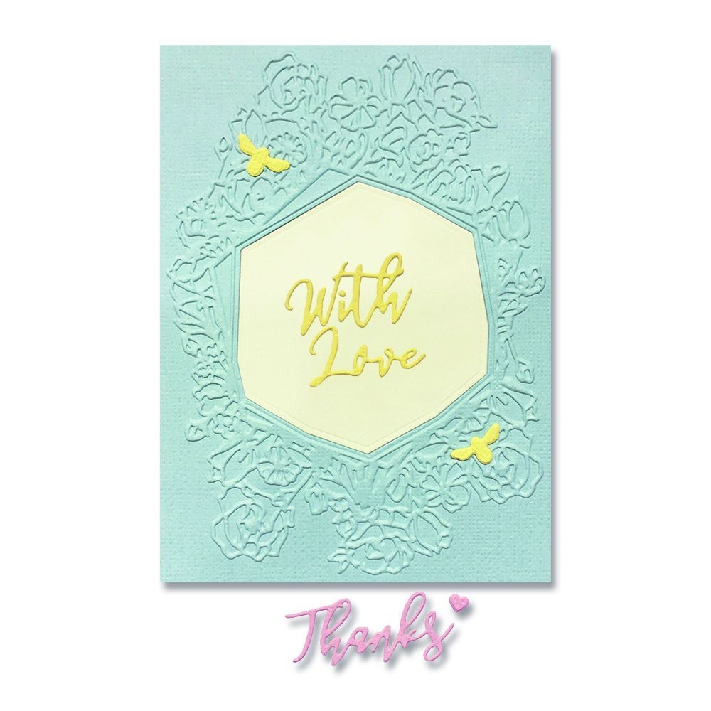 Sizzix FRAME FLORAL HEXAGON Impresslits Cut and Emboss Folder 664245 zoom image