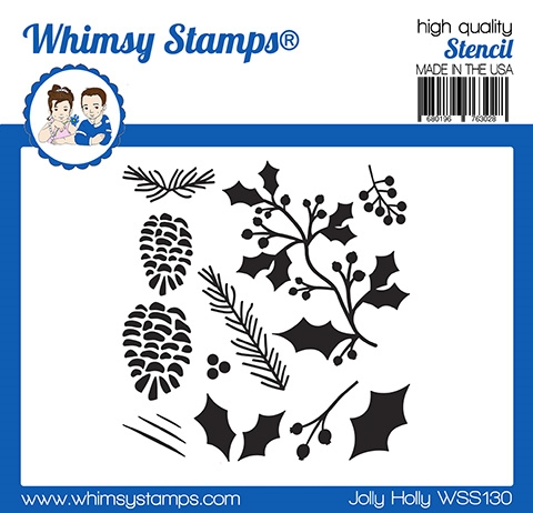 Whimsy Stamps JOLLY HOLLY Stencil WSS130 zoom image