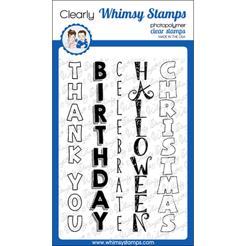 Whimsy Stamps SLIMLINE VERTICAL SENTIMENTS Clear Stamps CWSD244a Preview Image