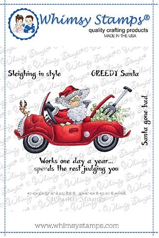 Whimsy Stamps GREEDY SANTA Cling Stamp CWSD180a Preview Image