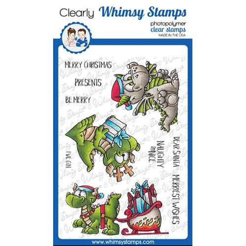 Whimsy Stamps DRAGON CHRISTMAS WISHES Clear Stamps DP1039a Preview Image