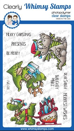 Whimsy Stamps DRAGON CHRISTMAS WISHES Clear Stamps DP1039a zoom image