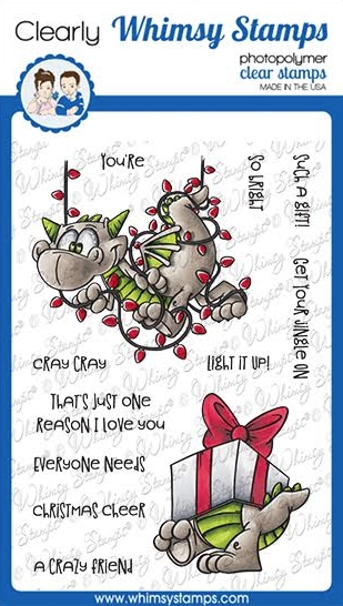 Whimsy Stamps DRAGON CHRISTMAS CHEER Clear Stamps DP1038a zoom image