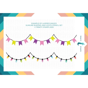 Trinity Stamps BUNTING AND LIGHTS 6 x 9 Layering Stencil Set Of 2 tss027