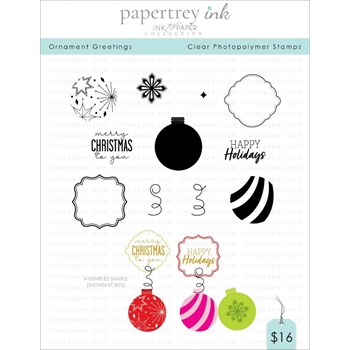 Ink to Paper ORNAMENT GREETINGS Clear Stamps 1214*
