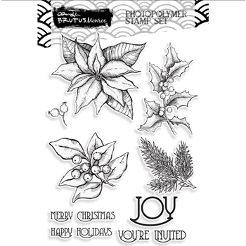 Brutus Monroe POINSETTIA JOY Clear Stamps bru1832