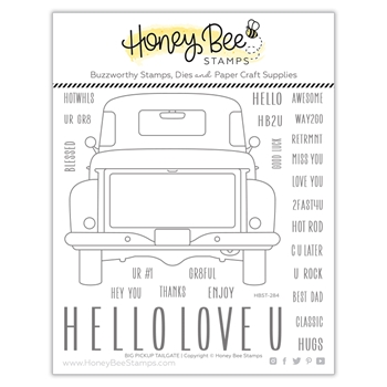 Honey Bee BIG PICKUP TAILGATE Clear Stamp Set hbst284