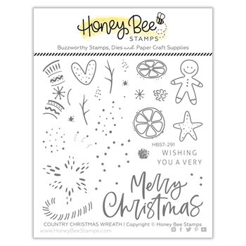 Honey Bee COUNTRY CHRISTMAS WREATH Clear Stamp Set hbst291