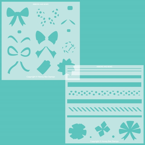 Honey Bee RIBBONS AND BOWS Stencil Set of 2 hbsl069 Preview Image