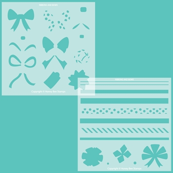 Honey Bee RIBBONS AND BOWS Stencil Set of 2 hbsl069