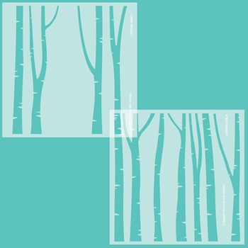 Honey Bee LAYERING BIRCH TREES Set of 2 Stencils hbsl072