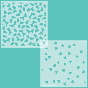 Honey Bee HOLLY AND BERRIES Set of 2 Stencils hbsl074