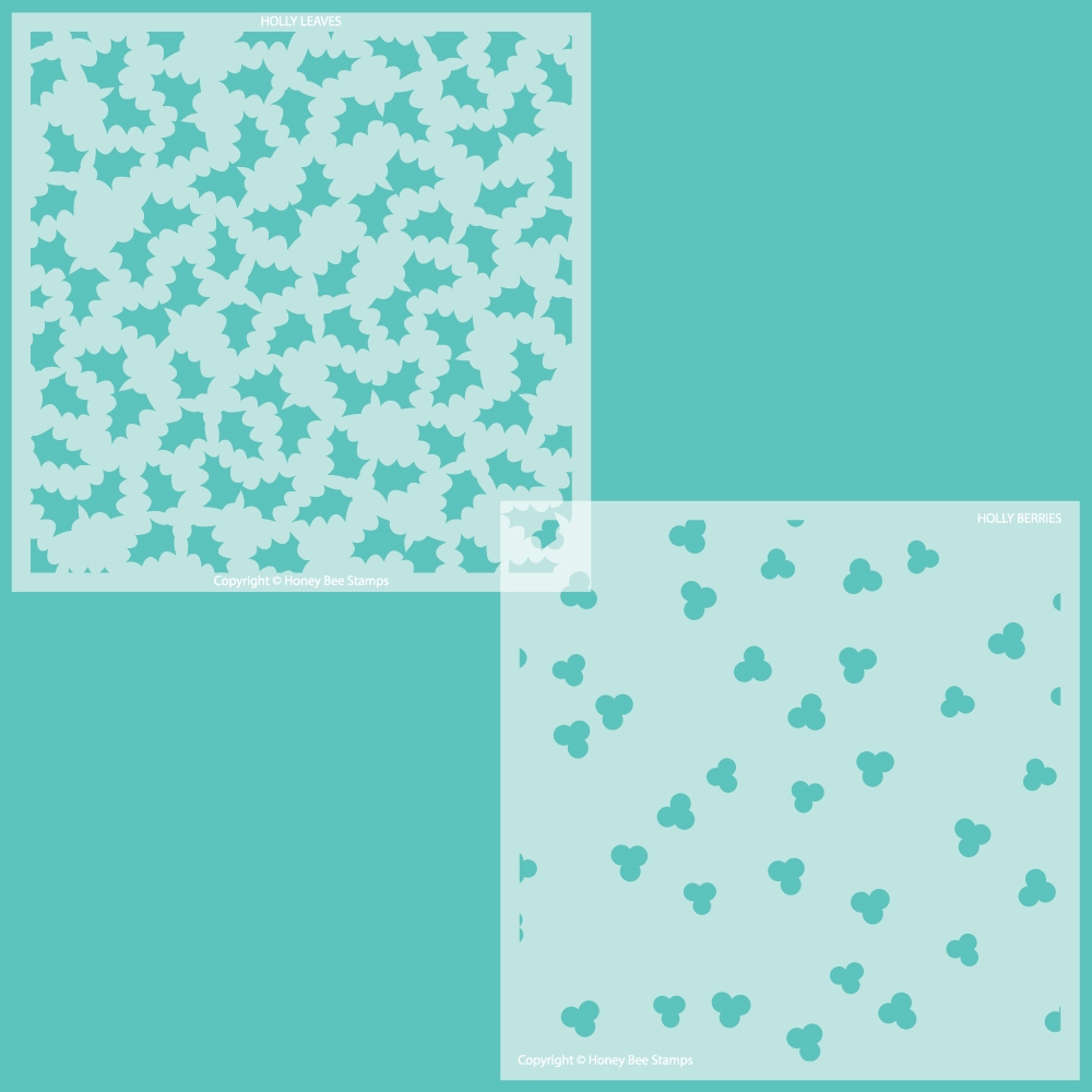 Honey Bee HOLLY AND BERRIES Set of 2 Stencils hbsl074 zoom image