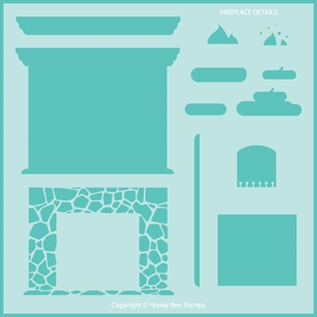 Honey Bee FIREPLACE DETAILS Stencil hbsl075