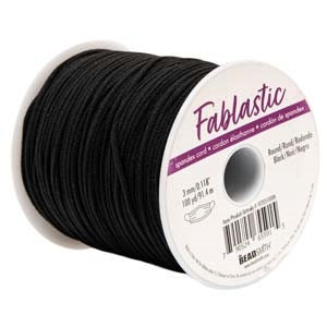 Beadsmith FABLASTIC 3MM BLACK ROUND STRETCH CORD 100 Yards fet03100bk *