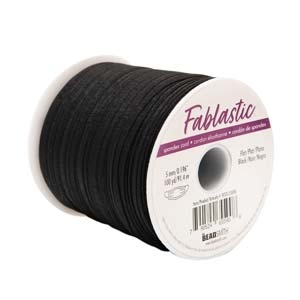 Beadsmith FABLASTIC 5MM BLACK ROUND STRETCH CORD 100 Yards fet05100bk