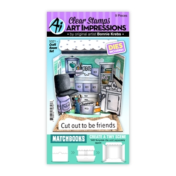 Art Impressions MATCHBOOK CRAFT ROOM Clear Stamps and Dies 5321