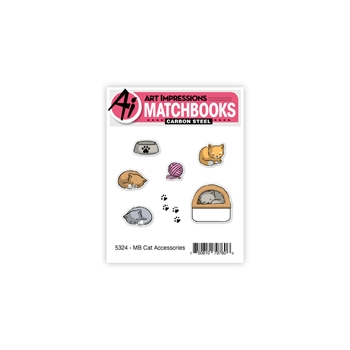 Art Impressions MATCHBOOK CAT ACCESSORIES Clear Stamps and Dies 5324