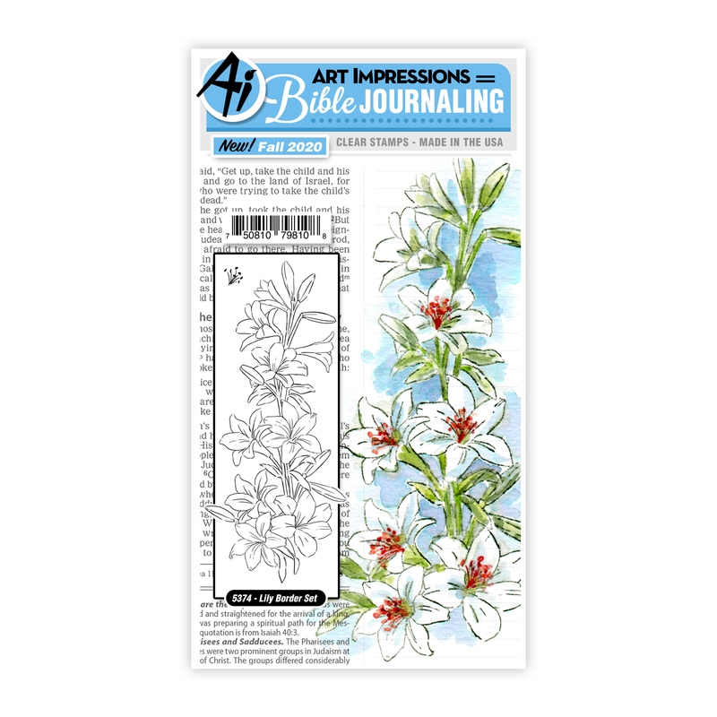 Art Impressions Watercolor LILY BORDER Clear Stamps Bible Journaling 5374* zoom image