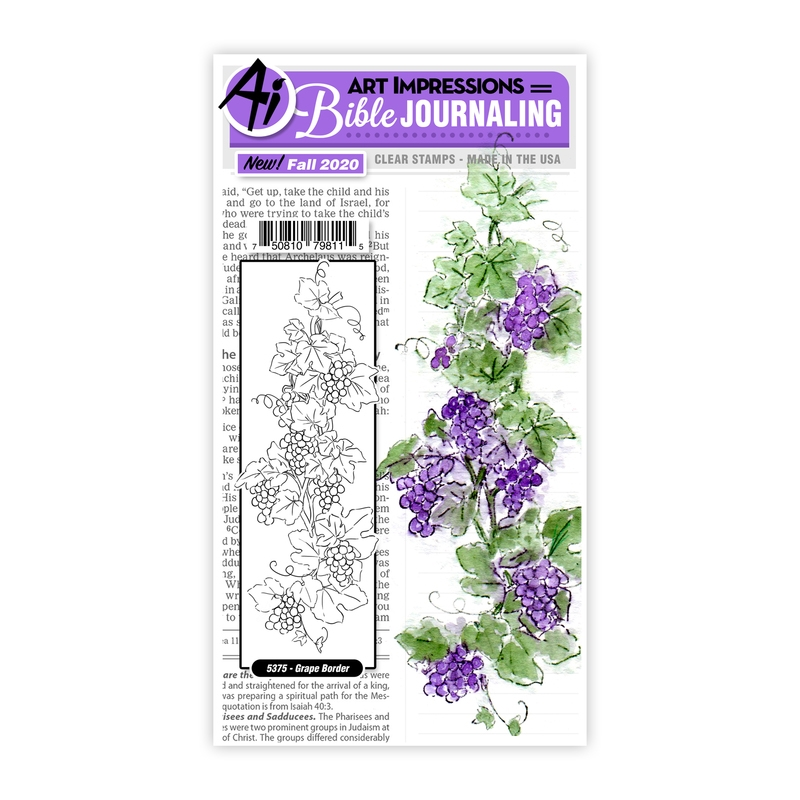 Art Impressions Watercolor GRAPE BORDER Clear Stamps Bible Journaling 5375 zoom image