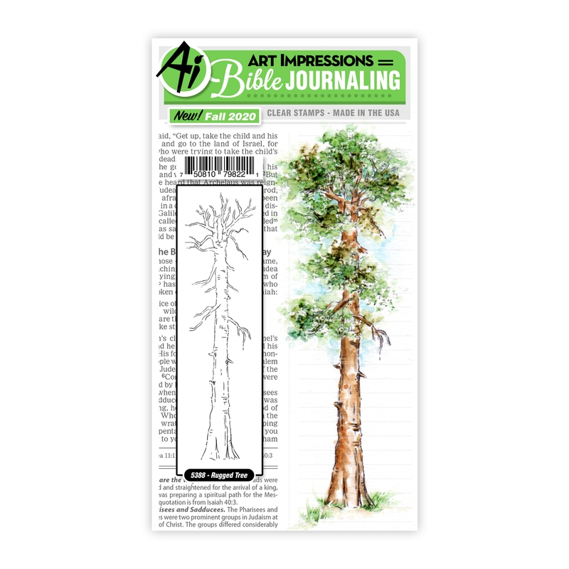 Art Impressions Watercolor RUGGED TREE Clear Stamps Bible Journaling 5388 zoom image